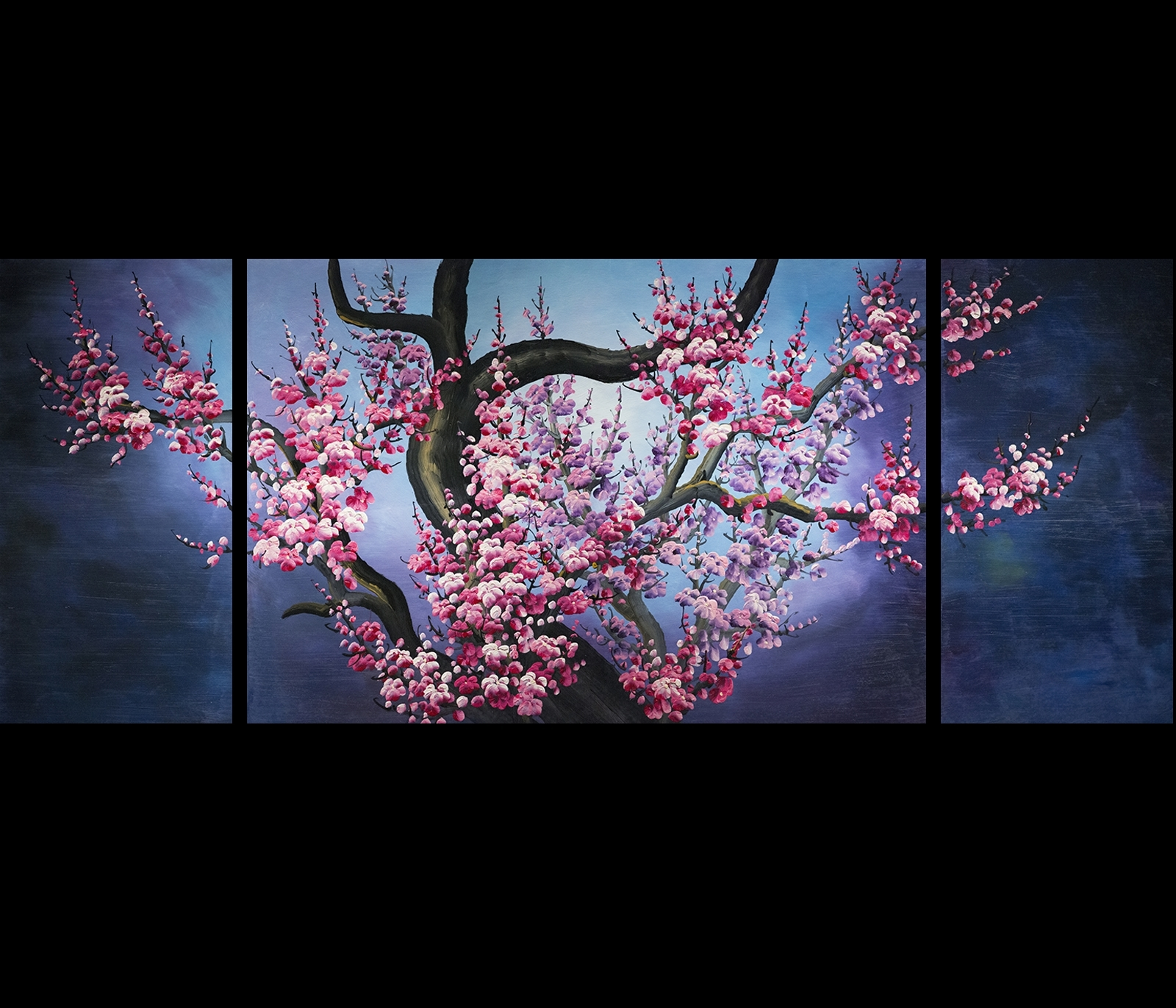 Japanese Cherry Blossom Painting Abstract Art Canvas Wall Art Throughout Favorite Canvas Wall Art In Purple (Gallery 9 of 15)