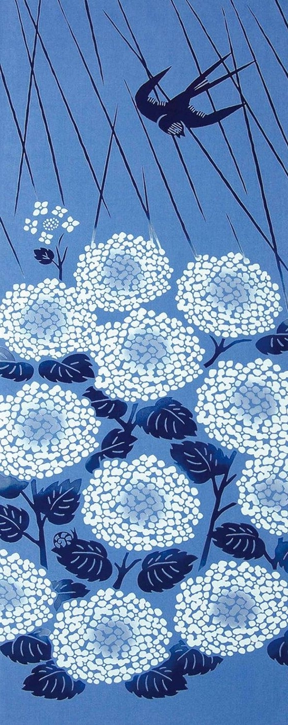 Japanese Tenugui Towel Cotton Fabric, Swallow, Hydrangea, Blue Within Most Current Japanese Fabric Wall Art (View 7 of 15)
