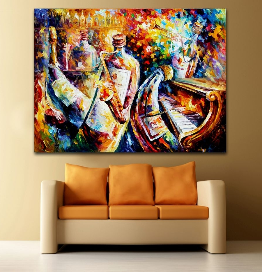Jazz Canvas Wall Art Throughout Well Known Palette Knife Printed On Canvas Painting Bottle Jazz Music (View 7 of 15)