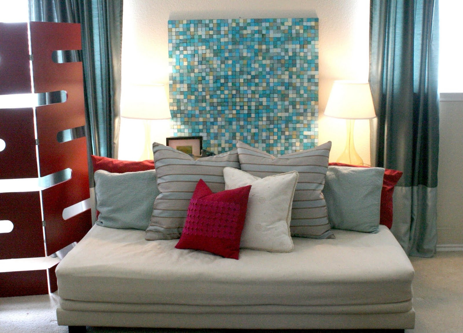Jcpenney Canvas Wall Art Regarding Widely Used Ideas: Comfortable White Sofa Bed With Cushions And Nice Mosaic (Gallery 5 of 15)