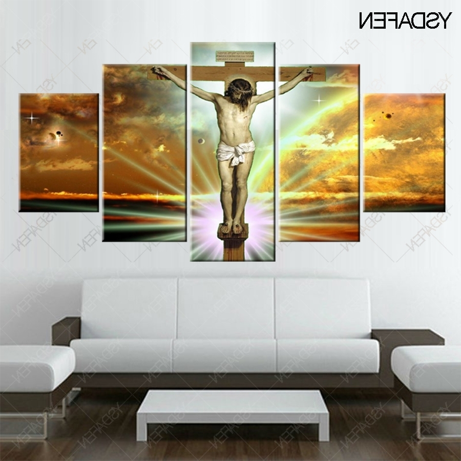 Jesus Canvas Wall Art Inside Best And Newest Print 5 Pcs Canvas Wall Art Print Jesus Painted On The Cross (View 15 of 15)