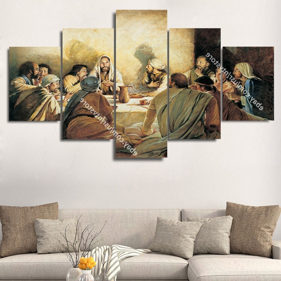 Jesus Christ & Apostles Painting Wall Art Canvas Print Christian For Popular Religious Canvas Wall Art (Gallery 5 of 15)