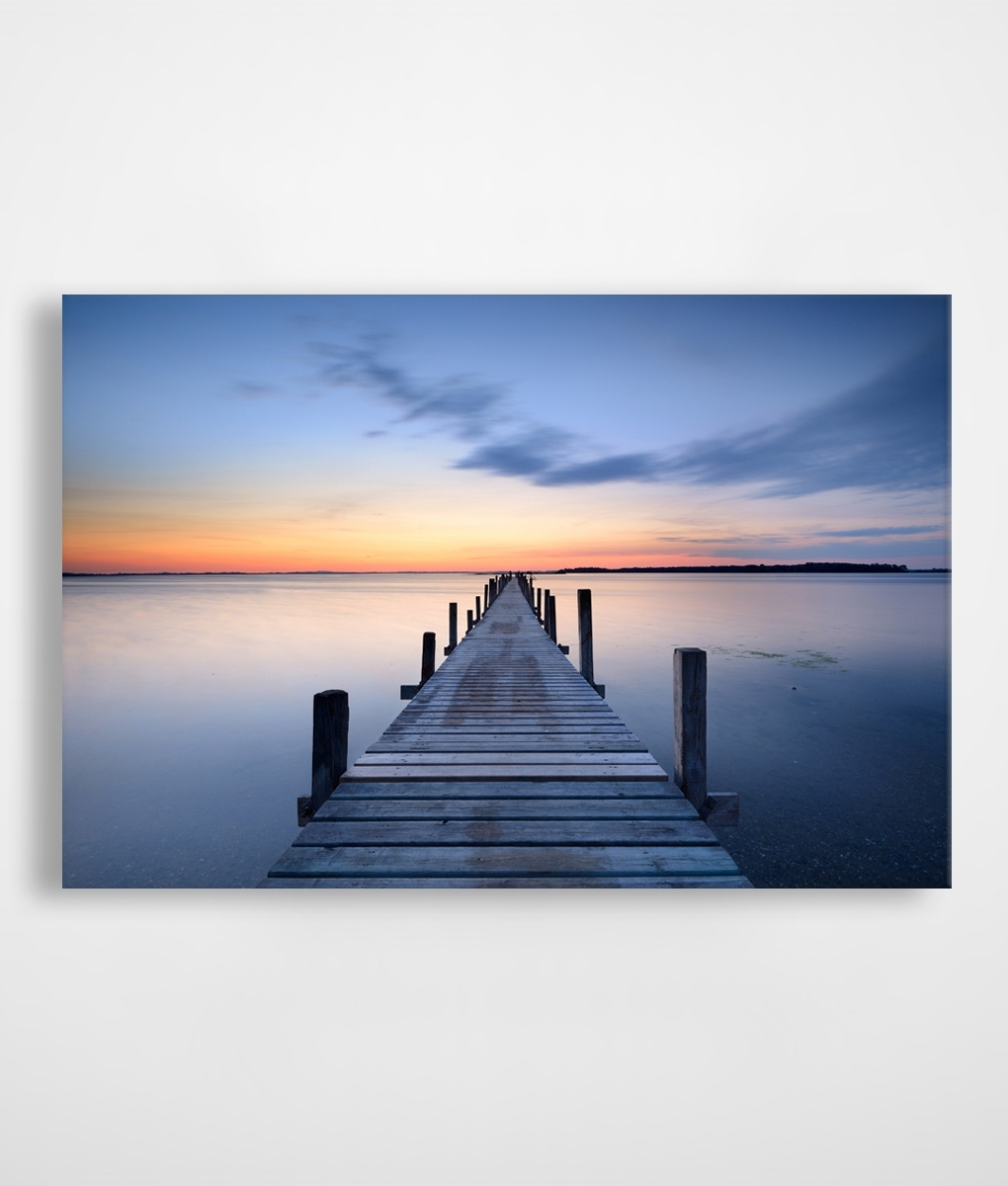 Jetty Canvas Wall Art In Current Orange & Blue Sunset Jetty Canvas Print (Gallery 1 of 15)