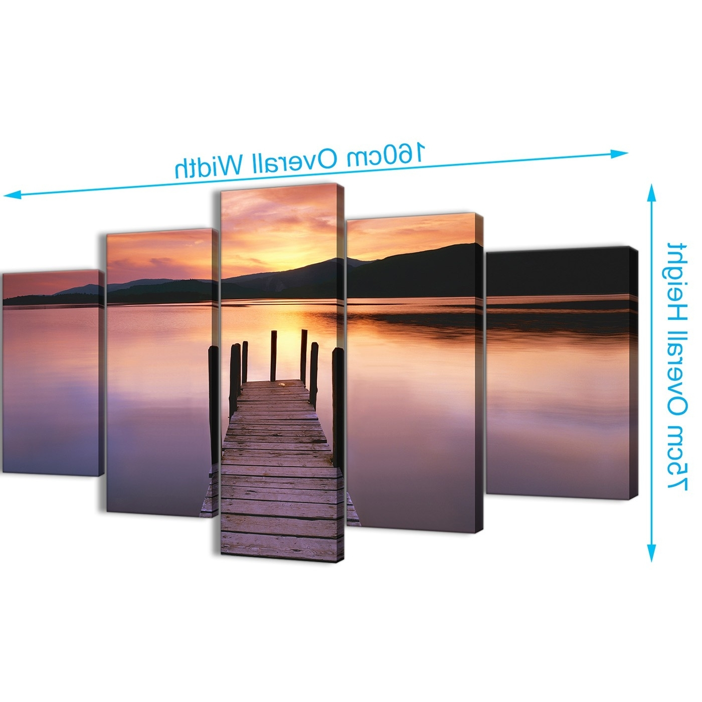Jetty Canvas Wall Art With Most Up To Date Purple Sunset Jetty Derwent Water Lake – 5 Part Landscape Canvas (View 7 of 15)