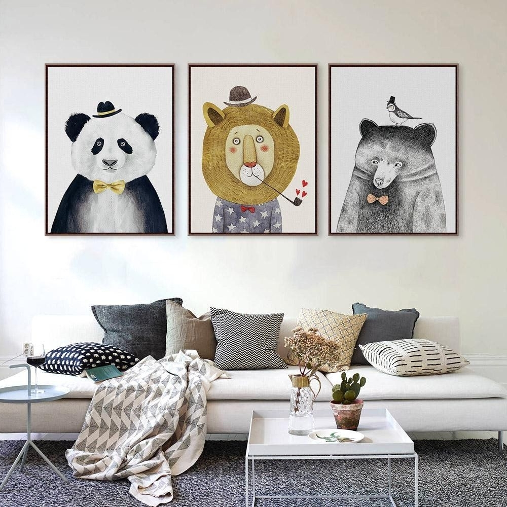 Johannesburg Canvas Wall Art In Well Known Triptych Watercolor Nordic Animal Lion Bear Panda A4 Art Prints (View 7 of 15)