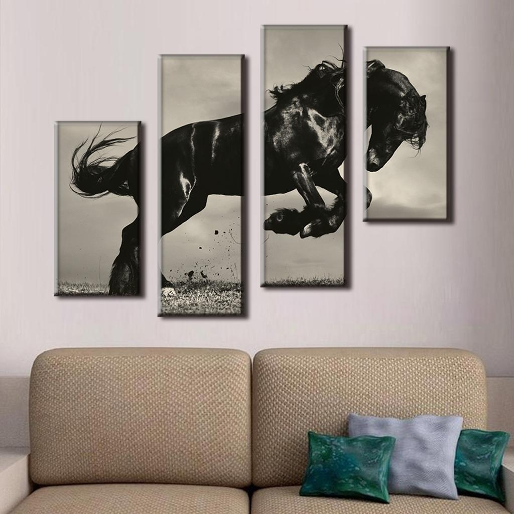 Jump Canvas Wall Art Inside Widely Used 4 Pcs/set Large Canvas Paintings Jumping Black Horse Canvas Print (View 7 of 15)