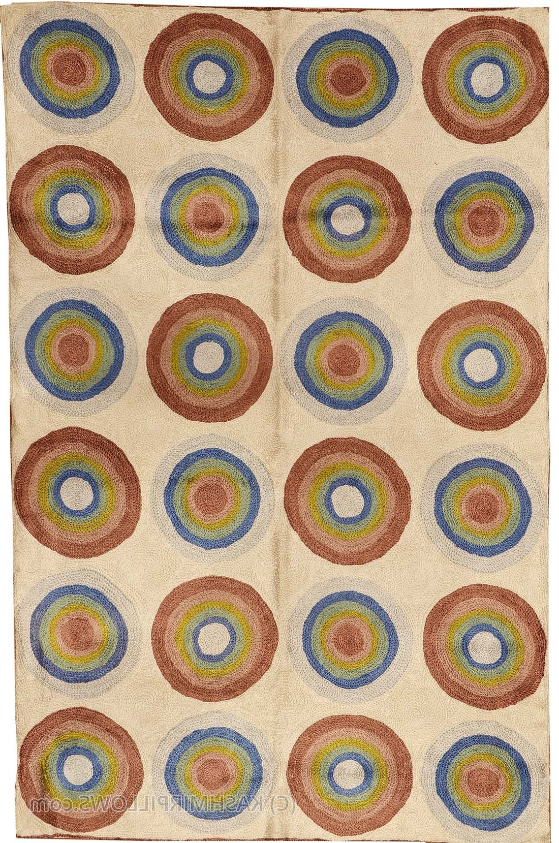 Kandinsky Circles Silk Rug / Wall Tapestry Hand Embroidered 2ft X Within Widely Used Modern Textile Wall Art (View 12 of 15)