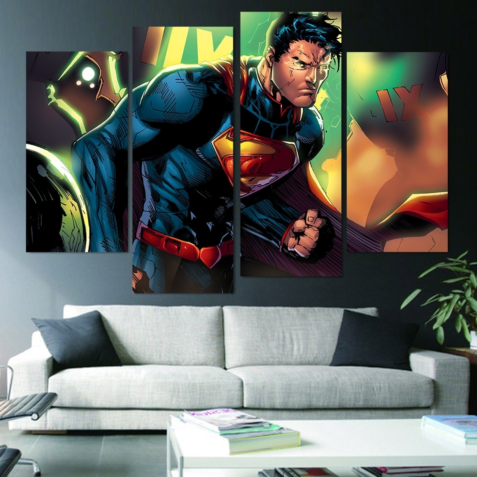Kent Canvas Wall Art In Popular Wall Art Canvas Painting Superman Clark Kent Hd Printed 4 Pieces (View 13 of 15)