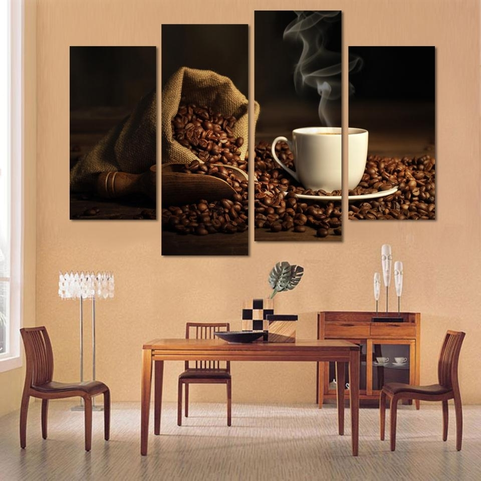 Kitchen Canvas Wall Art Regarding Current Canvas Print Art 4 Panel Hd Printed Canvas Painting Coffee Wall (Gallery 13 of 15)