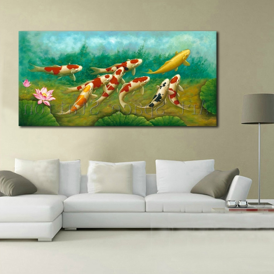 Koi Canvas Wall Art Inside Fashionable Green Modern Wall Art Chinese Painting Koi Fish Lotus Canvas (Gallery 9 of 15)