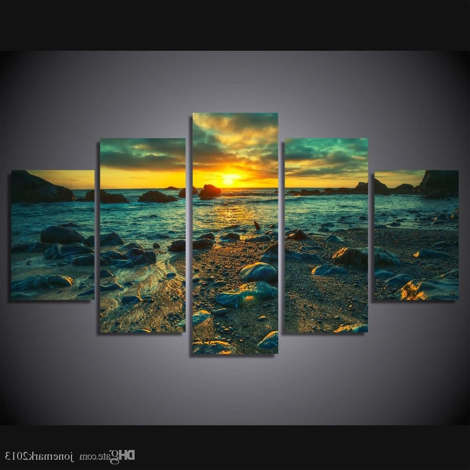 Ku Canvas Wall Art For 2018 Framed Hd Printed Sunset Beach Rocks Picture Wall Art Canvas Print (View 4 of 15)