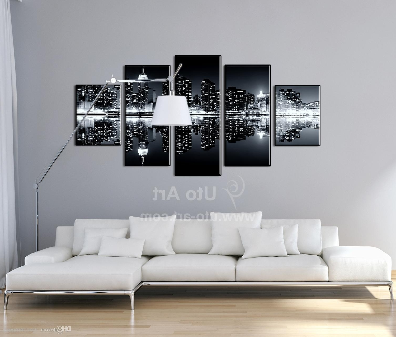 Ku Canvas Wall Art Throughout Most Recently Released 2018 Multi Panel Black Wall Decoration Inverted Image Canvas (Gallery 15 of 15)