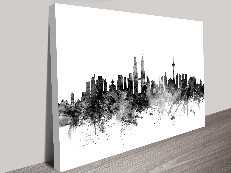 Kuala Lumpur Malaysia City Skyline Art Michael Tompsett Inside 2017 Malaysia Canvas Wall Art (Gallery 1 of 15)
