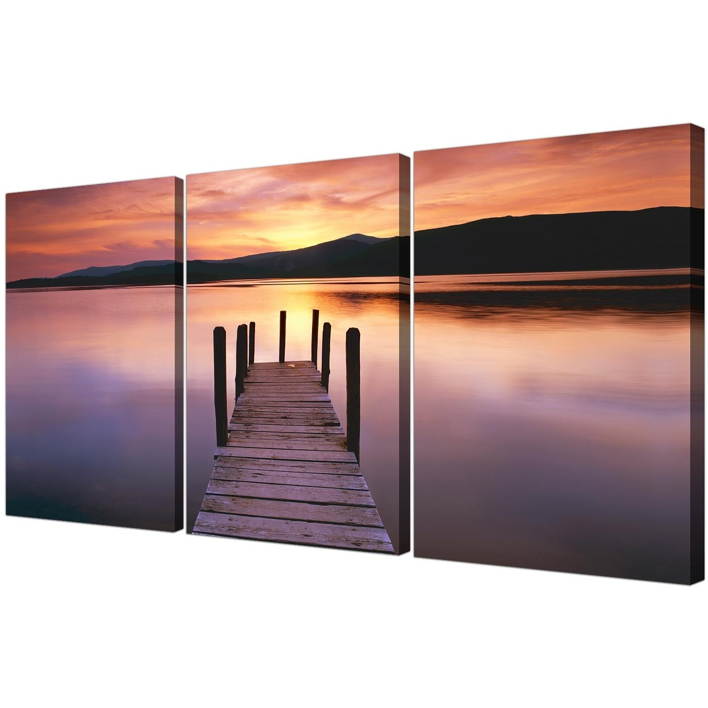Landscape Canvas Wall Art For Best And Newest Cheap Lake Sunset Canvas Prints Set Of 3 For Your Living Room (Gallery 4 of 15)