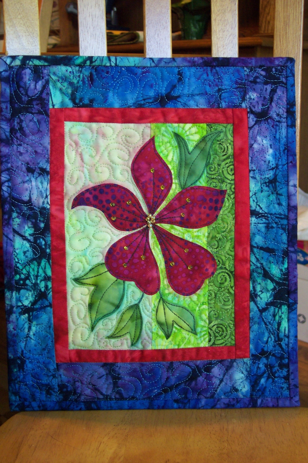 Landscape Quilt, Batik Fabric, Craft Pattern, Mixed Media, Wall With Regard To Current Quilt Fabric Wall Art (Gallery 10 of 15)