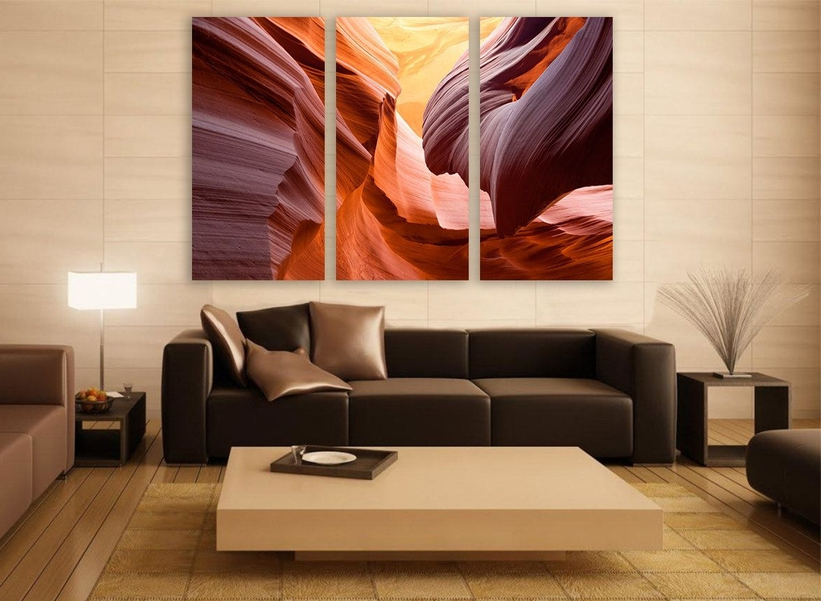 Large Canvas Wall Art In Current Arizona Canyon Canvas Print 3 Panels Print Wall Decor Wall Art (Gallery 12 of 15)