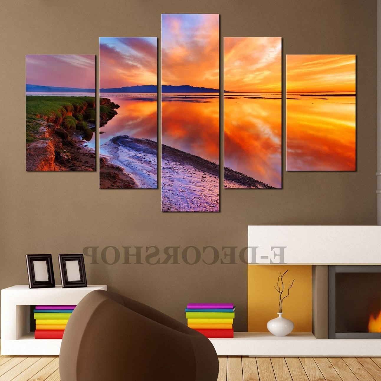Large Canvas Wall Art – Sunset 5 Piece Canvas Art Print For Home For Newest Large Canvas Wall Art (View 4 of 15)