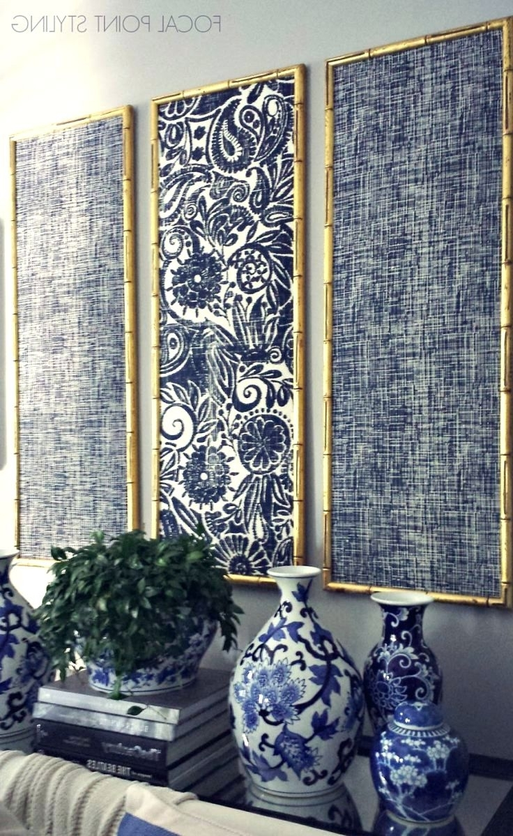 Large Fabric Wall Art With Popular Wall Arts ~ Gold Bamboo Frames With Navy Blue Chinoiserie Fabric (View 8 of 15)