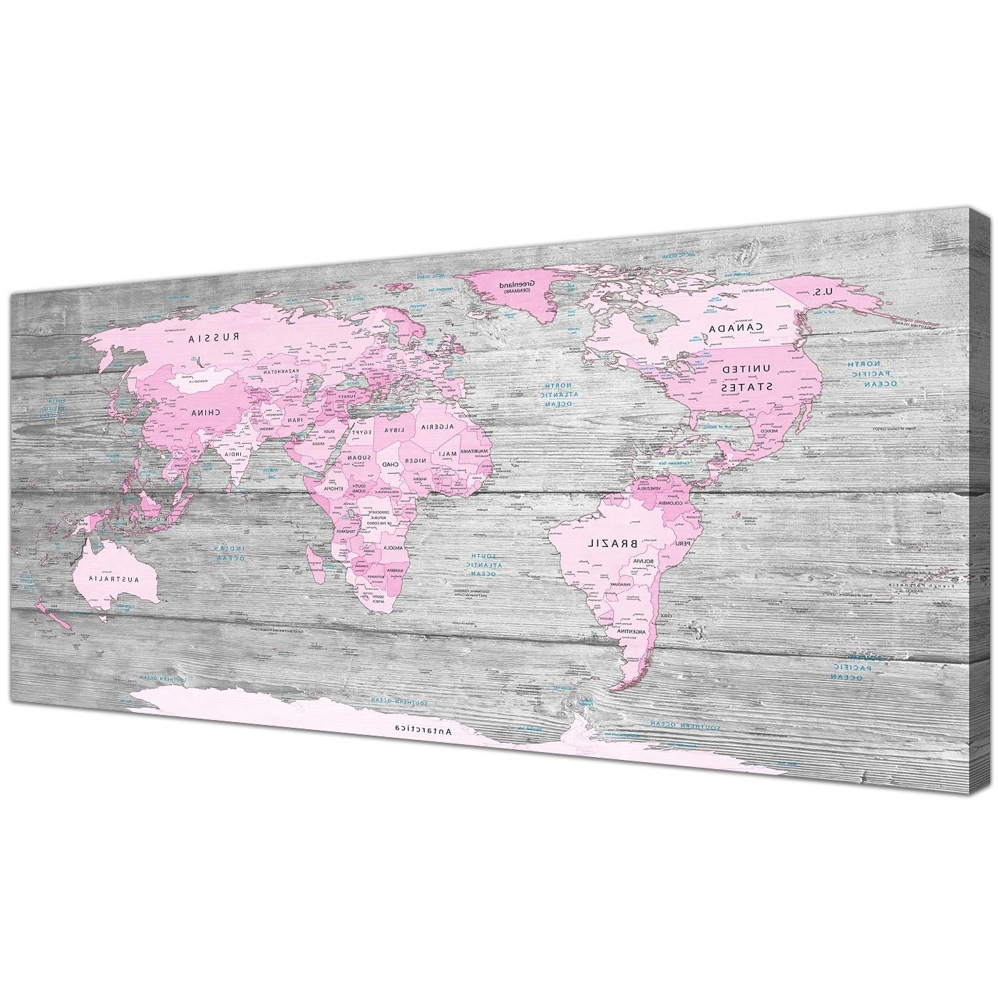 Large Pink Grey Map Of World Atlas Canvas Wall Art Print – Maps Intended For Current Pink Canvas Wall Art (View 13 of 15)