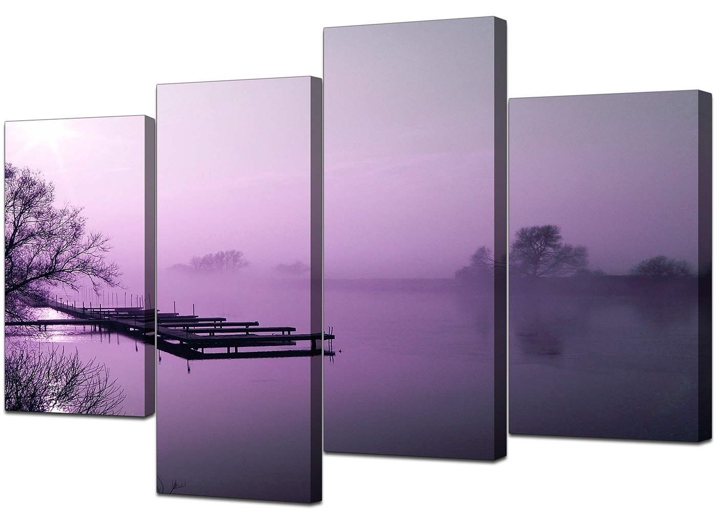 Large Purple Landscape Bedroom Canvas Wall Art Pictures 130Cm Set For 2017 Canvas Wall Art In Purple (View 10 of 15)