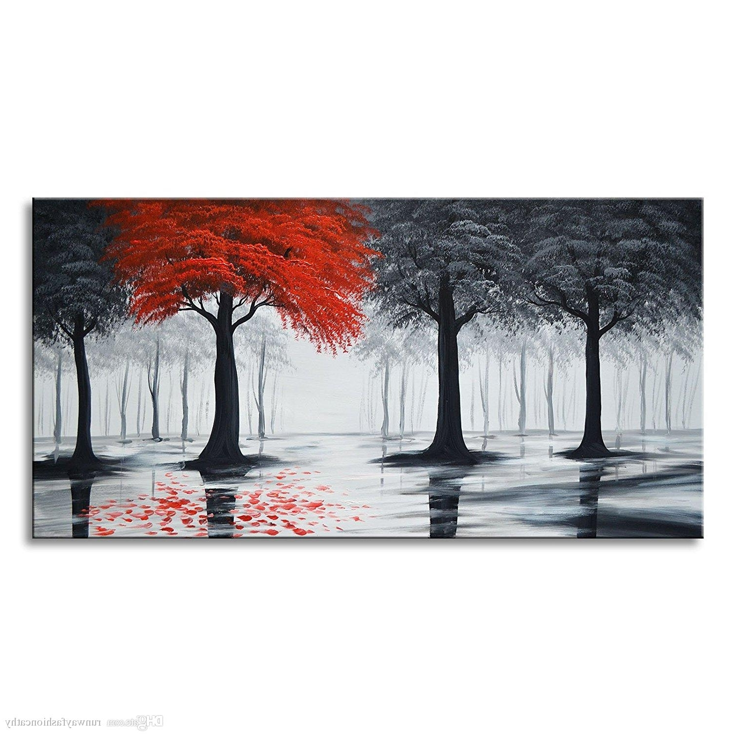 Large Red Canvas Wall Art For Famous 2018 Pure Handmade Large Canvas Oil Painting Modern Black And Red (Gallery 9 of 15)