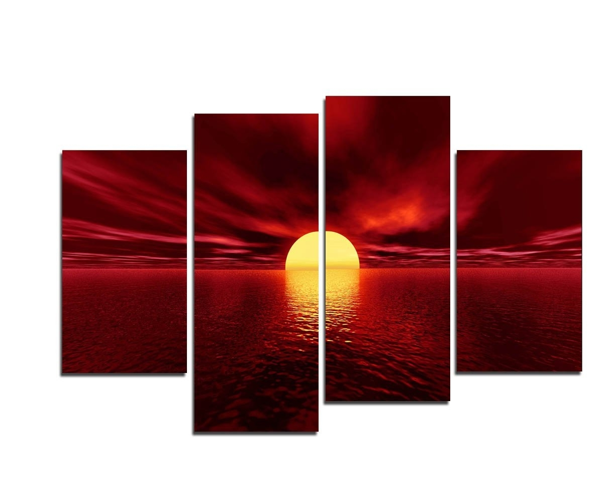 Large Red Canvas Wall Art Inside Widely Used Amazon: Wieco Art – Giclee Canvas Prints Wall Art Red Sea (View 2 of 15)