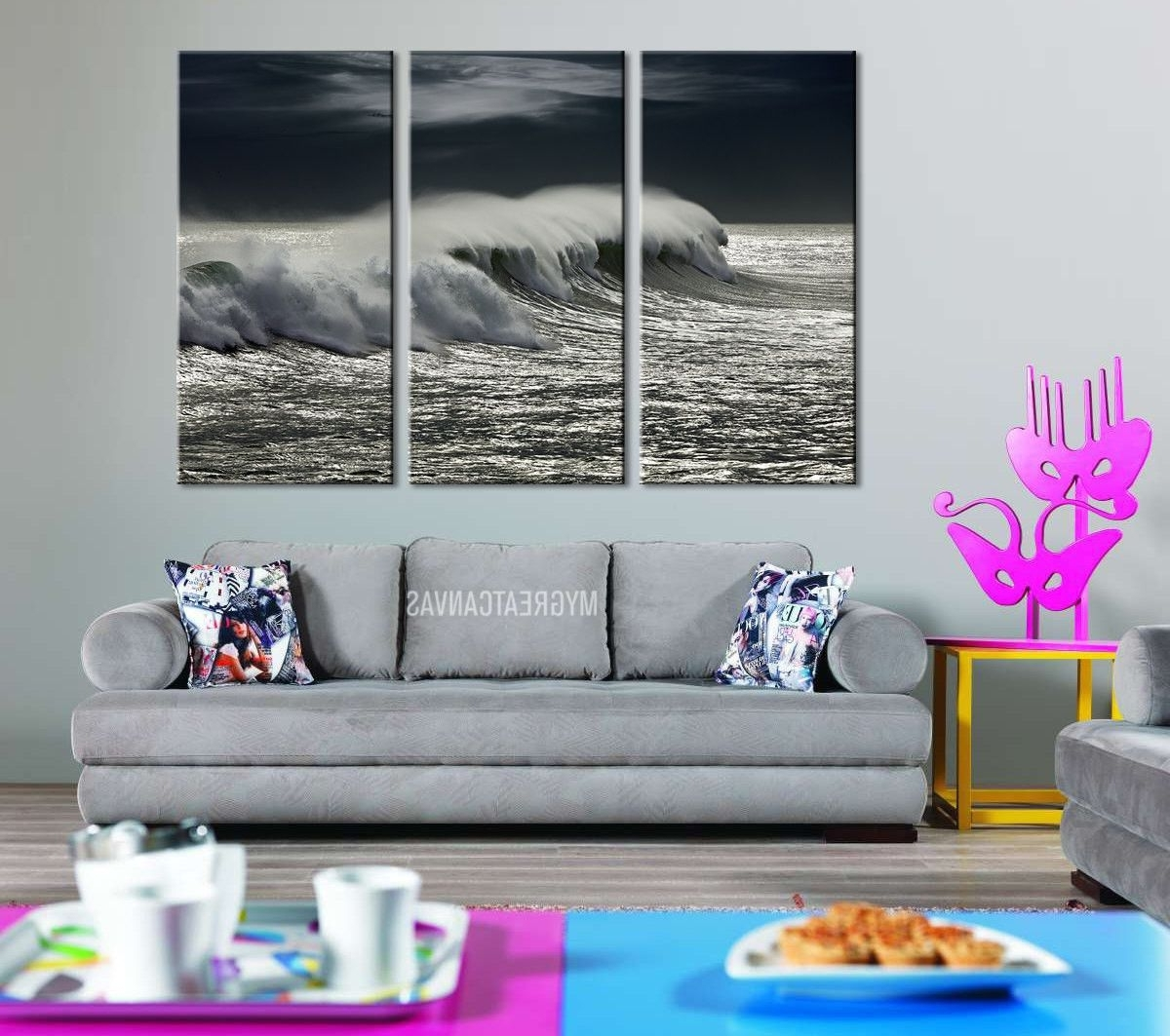 Large Wall Art Giclee 3 Panel Canvas Print – Black And White Ocean Within Well Liked Ocean Canvas Wall Art (View 15 of 15)