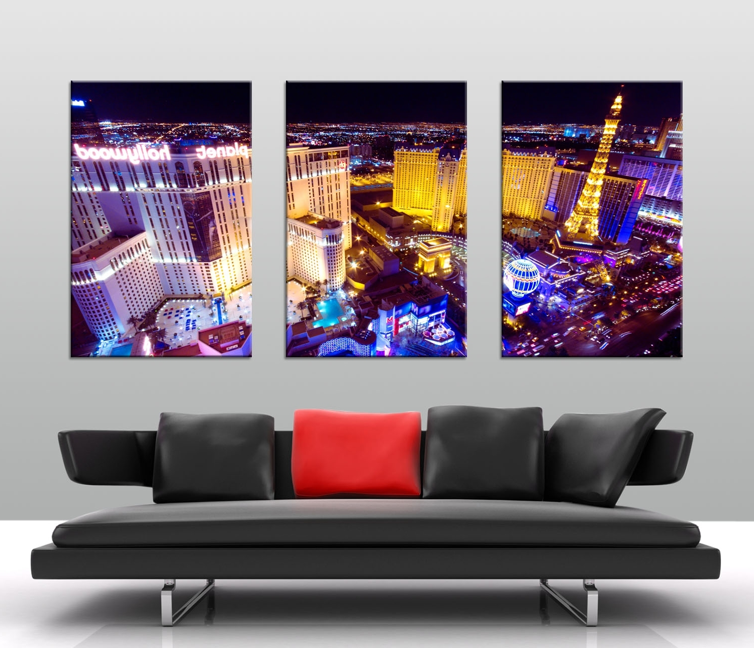 Las Vegas At Night Triptych Art – Canvas Prints Australia Intended For Best And Newest Canvas Wall Art In Australia (View 10 of 15)