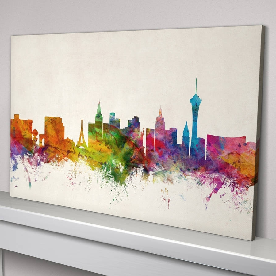 Las Vegas Canvas Wall Art For Latest Las Vegas Skyline Cityscape Art Printartpause (View 6 of 15)