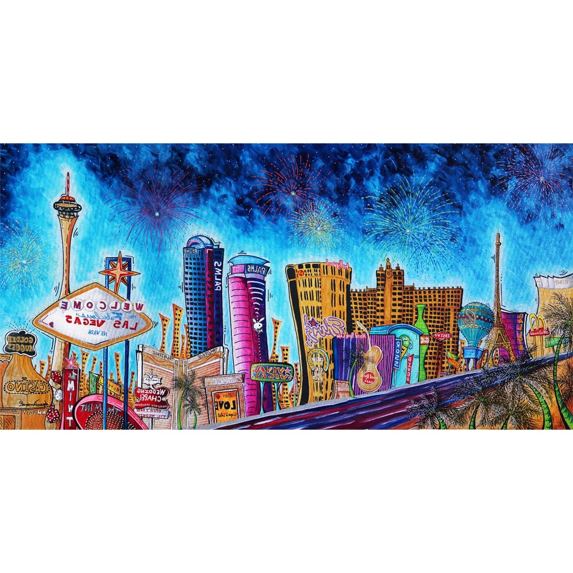 "Las Vegas Canvas Wall Art In Widely Used Viva Las Vegas"" Original Pop Art Style Colorful Vegas Strip (View 7 of 15)"