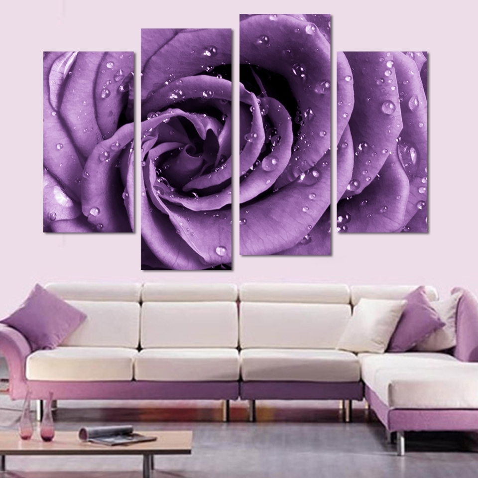 Latest 4 Panels Canvas Print Purple Rose Painting On Canvas Wall Art Throughout Roses Canvas Wall Art (Gallery 11 of 15)