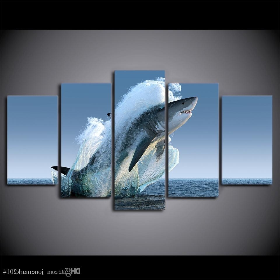 Latest 5 Panel Framed Hd Printed Jumping White Shark Seascape Canvas Wall With Jump Canvas Wall Art (View 12 of 15)