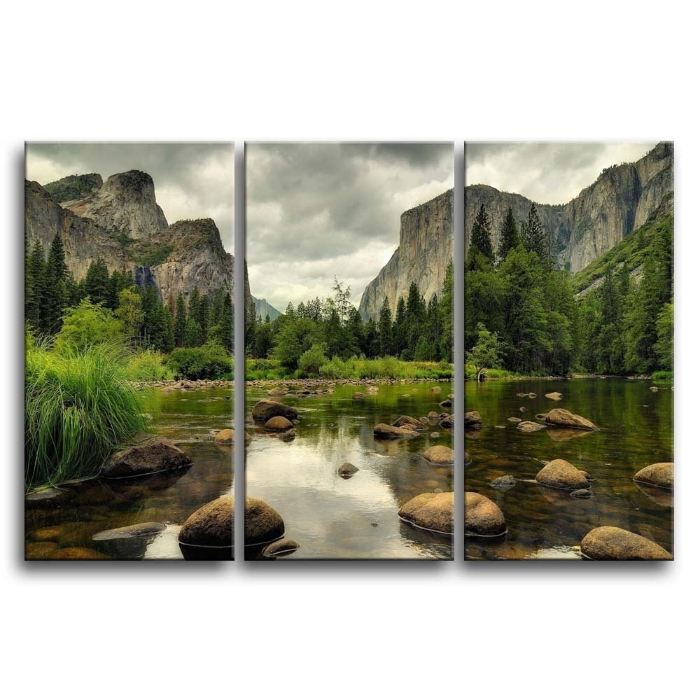 Latest Amazon: 3 Pieces Green Wall Art Painting Yosemite National In Mountains Canvas Wall Art (Gallery 7 of 15)