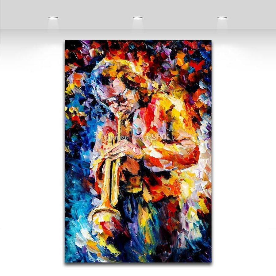 Latest Best Palette Knife Painting Jazz Music Trumpet Saxophone Guita With Regard To Jazz Canvas Wall Art (View 8 of 15)