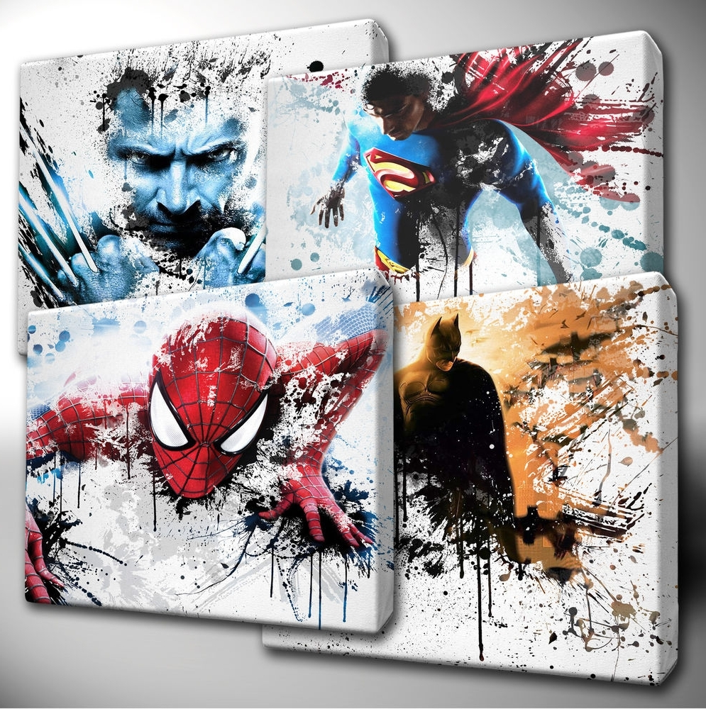 Latest Choose Your Marvel Avengers / Dc Characters Paint Splatter Canvas Throughout Marvel Canvas Wall Art (View 6 of 15)