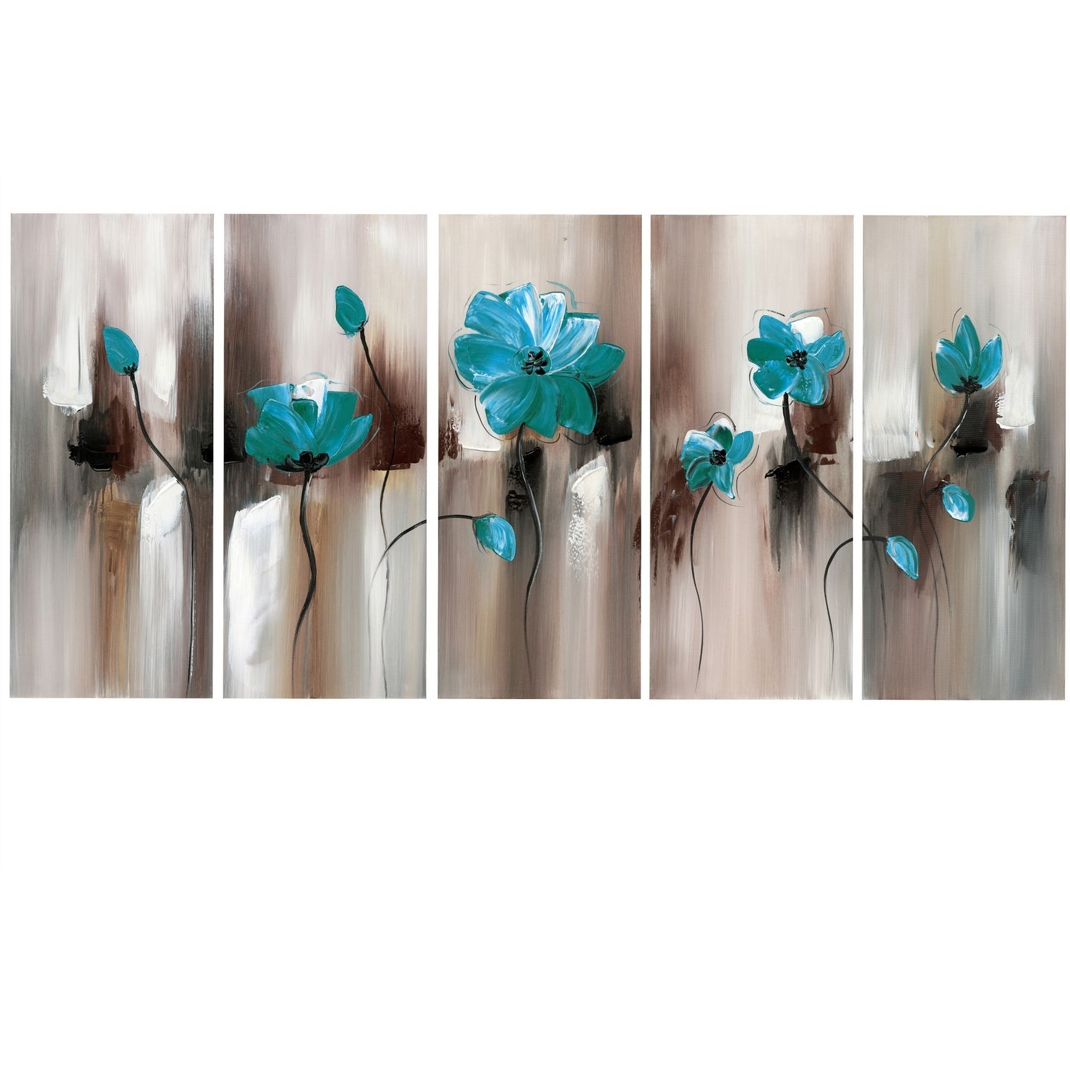 Latest Design Art Green Emerald Modern Flower Art – Gallery Wrapped Pertaining To Canvas Wall Art In Canada (View 6 of 15)