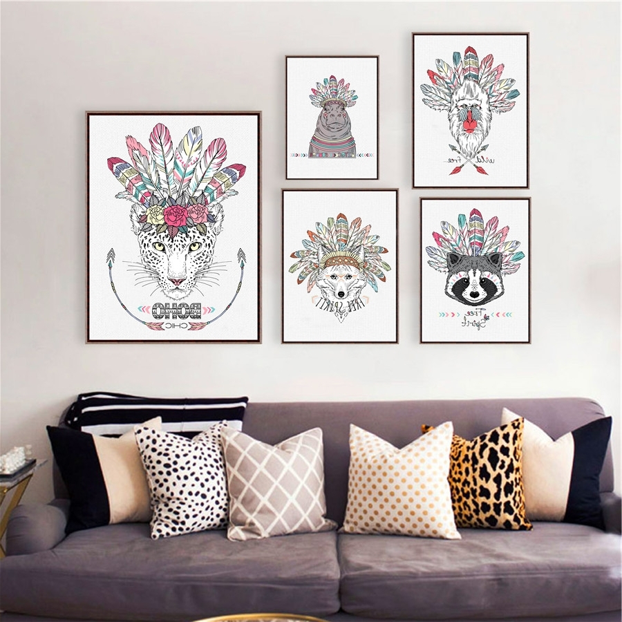 Latest Ethnic Canvas Wall Art Within Native American Poster Art Prints , Hand Drawn Aztec Style Animal (Gallery 7 of 15)