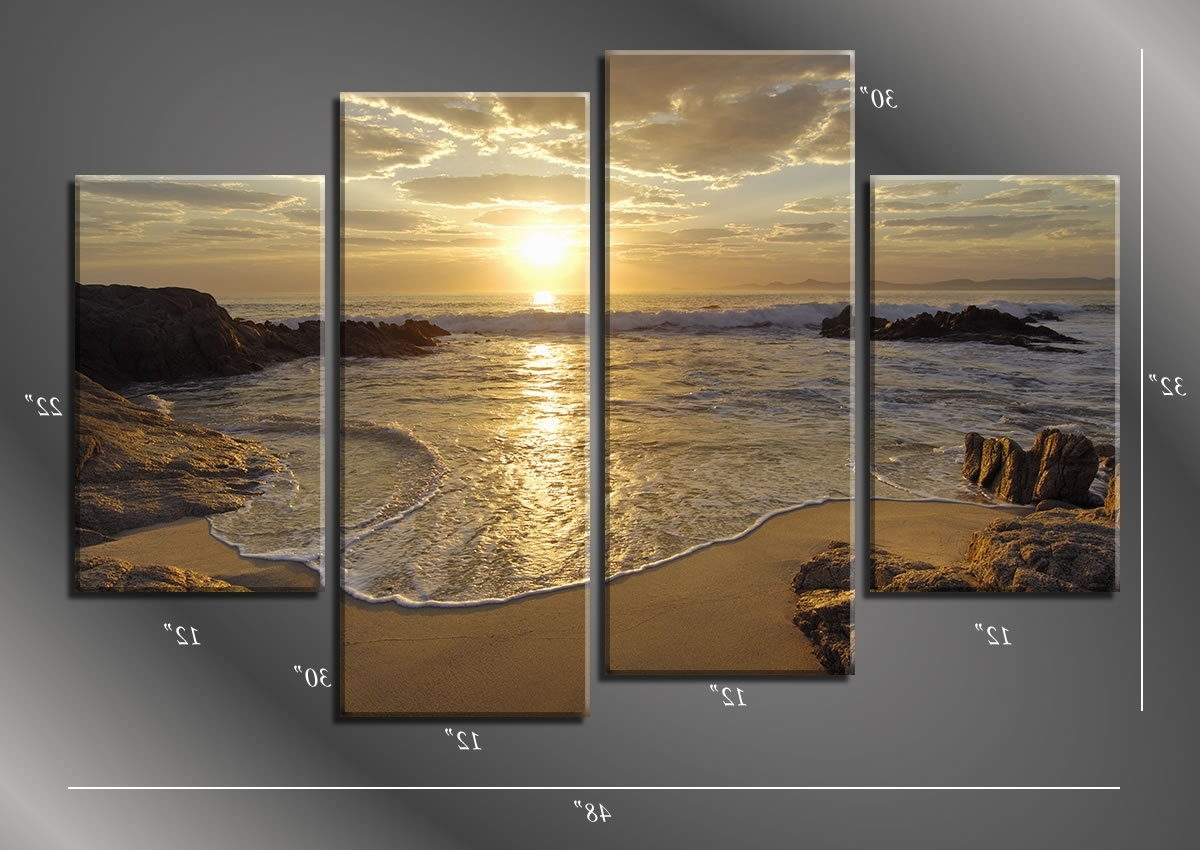 Latest Framed Hugh 4 Panel Sunrise Sea Ocean Wave Sunset Beach Canvas Inside Beach Canvas Wall Art (View 12 of 15)
