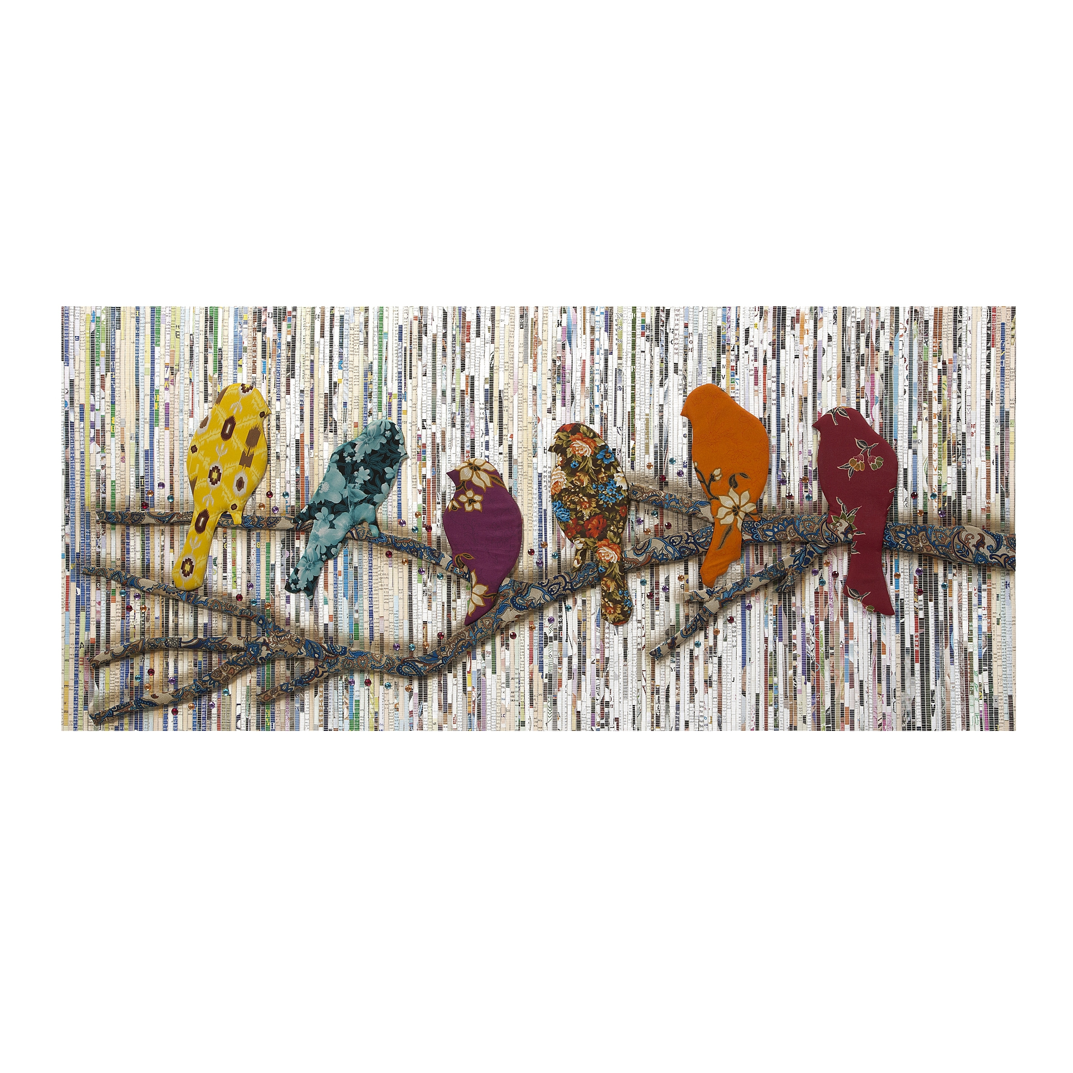Latest Imax Camara Batik And Newspaper Bird Wall Art – Walmart Throughout Batik Fabric Wall Art (View 13 of 15)