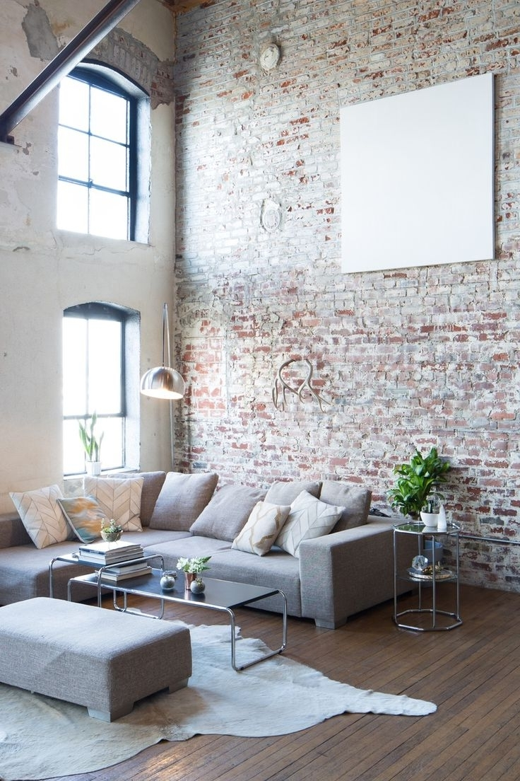 Latest Interior : Exposed Brick Walls Accent Apartment Interior Studio Throughout Exposed Brick Wall Accents (View 9 of 15)