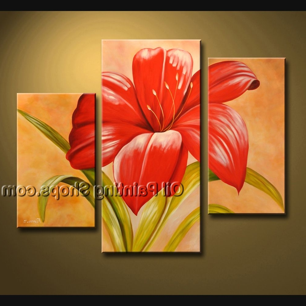 Latest Stunning Contemporary Wall Art Oil Painting On Canvas Panels Pertaining To Red Flowers Canvas Wall Art (View 3 of 15)