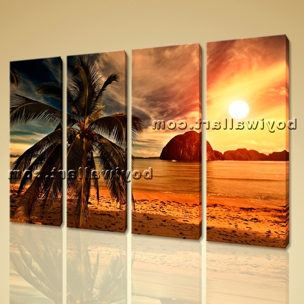 Latest Sunset Landscape Contemporary Beach Hd Picture Print On Canvas Within Nature Canvas Wall Art (Gallery 12 of 15)