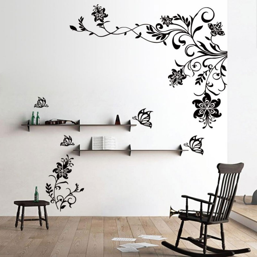 Latest Wall Accents Stickers In Wall Decor Awesome Stickers To Decorate Walls 2018 Black Flowers (View 8 of 15)