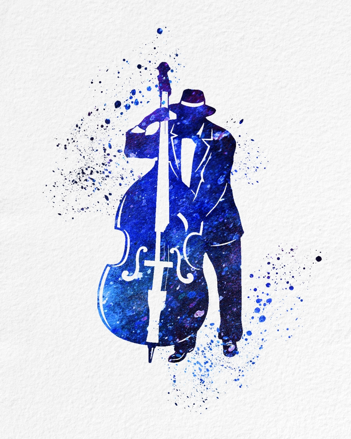 Latest Watercolor Art Print Bass Jazz Player Modern 8X10 Wall Art Decor With Bass Framed Art Prints (View 10 of 15)