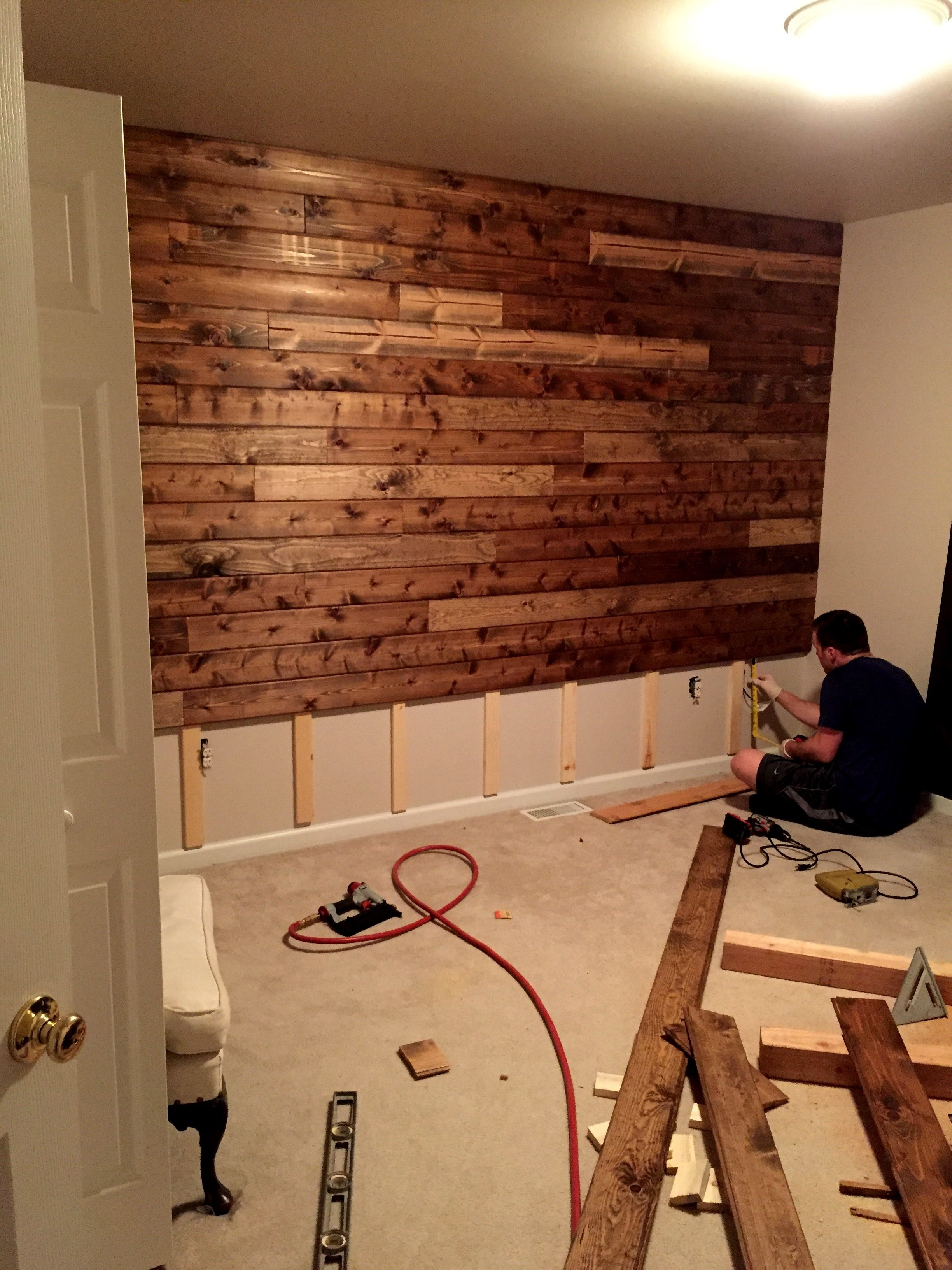 Latest Wood Pallets Wall Accents Regarding Wooden Accent Wall Tutorial (View 5 of 15)