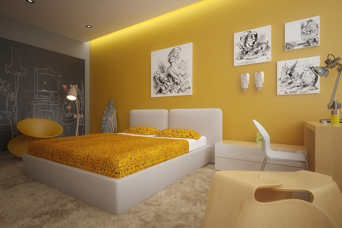 Latest Yellow Bedroom Design Ideas – Newhomesandrews Within Wall Accents For Yellow Room (Gallery 5 of 15)