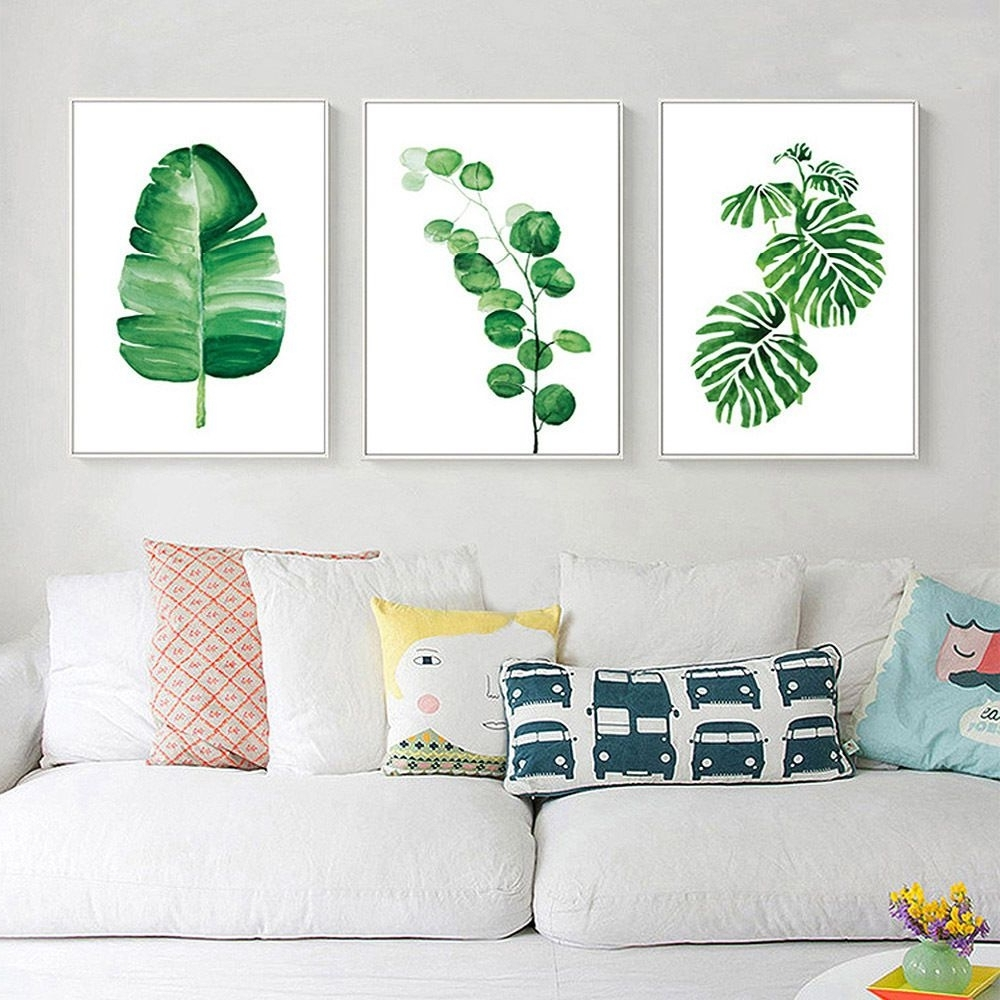 Leaves Canvas Wall Art For Favorite Nordic Decoration Watercolor Plant Leaves Poster Prints Canvas (View 14 of 15)