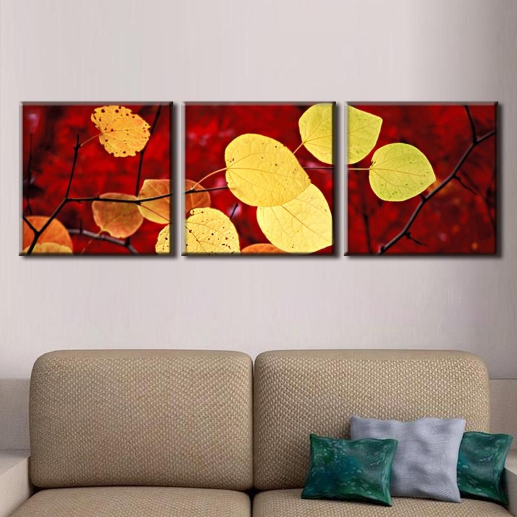 Leaves Canvas Wall Art In Most Popular 3 Pcs/set Autumn Leaves Painting Canvas Print Modern Wall (View 5 of 15)