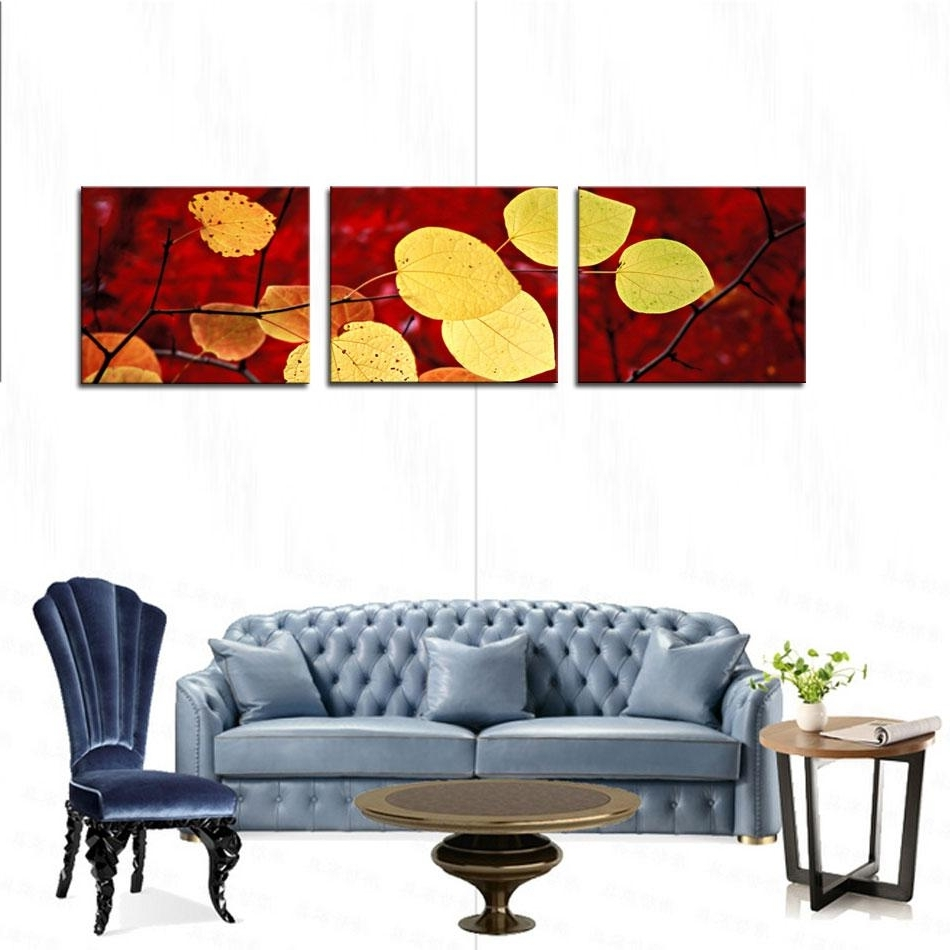 Leaves Canvas Wall Art Inside Latest 2018 Art Fallen Leaves Canvas Prints Modern Wall Art Paintings (View 13 of 15)