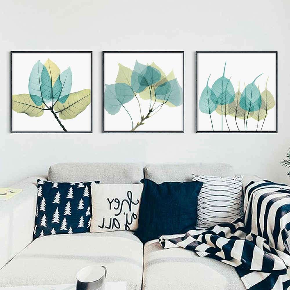 Leaves Canvas Wall Art Pertaining To Most Recently Released Bianche Wall Modern Minimalist Transparent Leaves Canvas Painting (View 11 of 15)